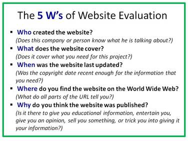 research paper website evaluation