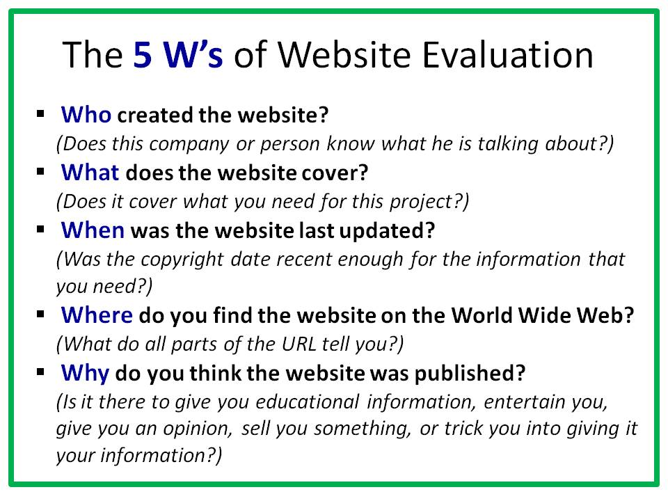 evaluation of a website essay Be prepared the next time your teacher assigns an evaluation essay find out what it is, how to write one, and get some topic suggestions.